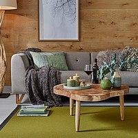 Teppich mit Leinenbordüre